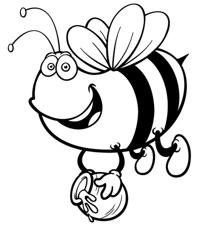 bumble bee: Vector illustration of Cartoon Bee - Coloring book
