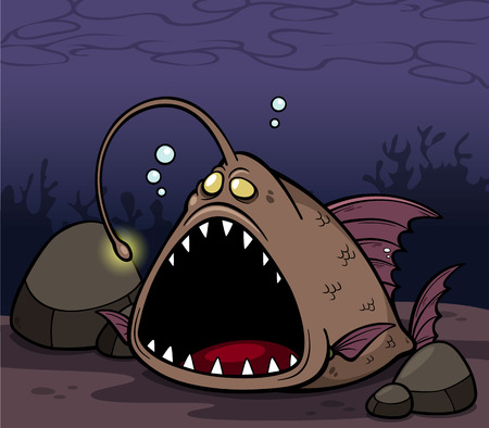 Vector illustration of angry fish cartoon Vector
