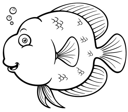 ector illustration of Cartoon fish - Coloring book Stock Vector - 27322040