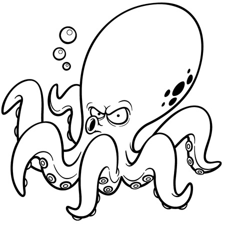 Vector illustration of Cartoon octopus - Coloring book Vector