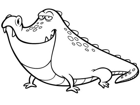 Ilustración De Dibujos Animados De Cocodrilo - Coloring Book ...