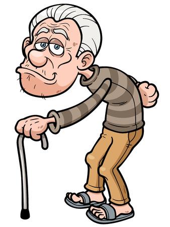 hombre calvo: Ilustraci�n del vector de la historieta del viejo hombre Vectores
