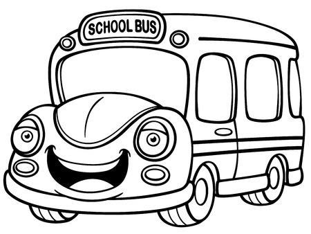 flashers: Ilustraci�n del vector del autob�s escolar - Libro para colorear Vectores