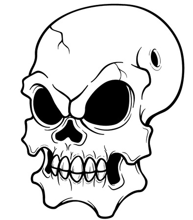 Vector illustration of Skull - Coloring book Vector