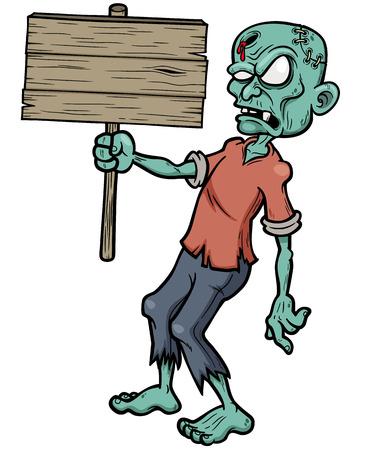 Vector illustration of Cartoon zombie holding wooden sign Illustration