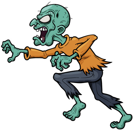 Vector illustration of Cartoon zombie running