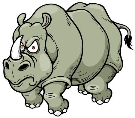 hunted: Vector illustration of Cartoon rhino