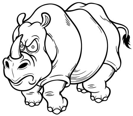 hunted: Vector illustration of Cartoon rhino - Coloring book