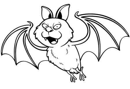 Vector illustration of Cartoon bat - Coloring book Vector