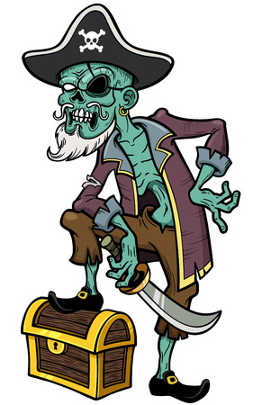 Vector illustration of Cartoon Pirate zombie Vector