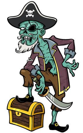 Vector illustration of Cartoon Pirate zombie Vector