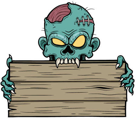 Vector illustration of Cartoon zombie holding wooden sign Illustration