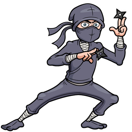 ninja weapons: Vector illustration of Cartoon Ninja