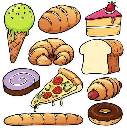 thresh grain: Vector illustration of bakery set