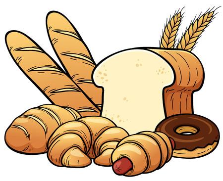 thresh grain: Vector illustration of breads set Illustration