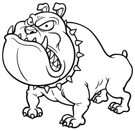 Vector illustration of Angry Dog - Coloring book