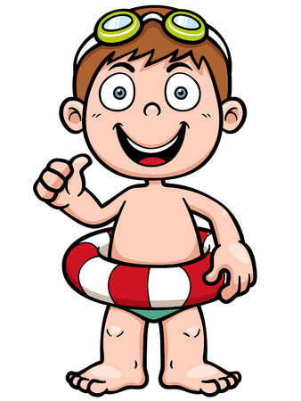 illustration of Boy swimming Vector