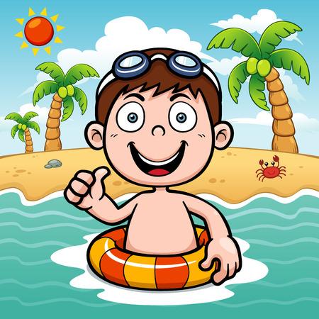 illustration of Boy swimming Vector