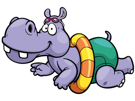 illustration of hippo swimming Vector