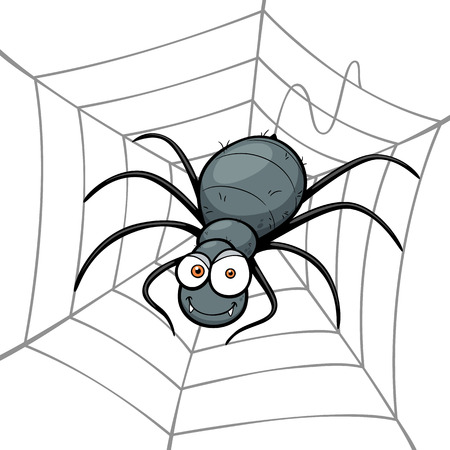 illustration of Spider in a Web Vector