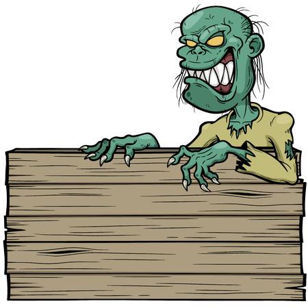 Ilustraci�n del vector del zombi de la historieta con la muestra de madera