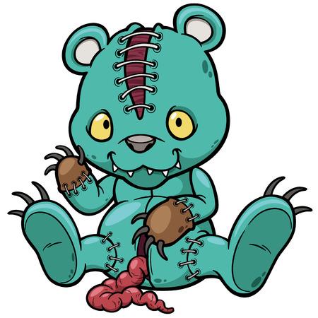 Vector illustration of Evil teddy bear Stock Illustratie
