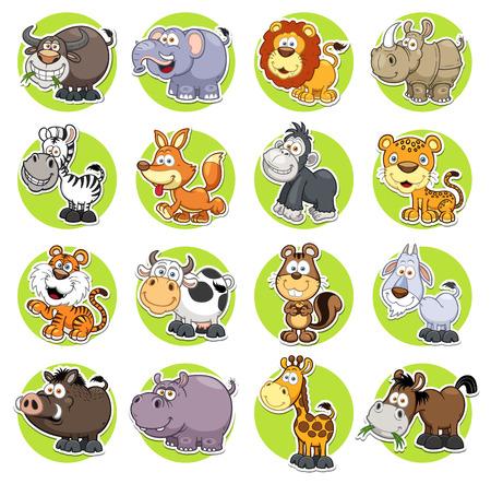 插圖動物卡通設置 向量圖像