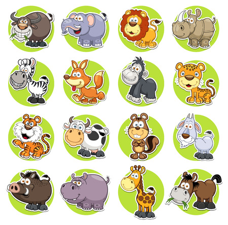 illustratie van dieren set Cartoon Stock Illustratie