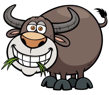 illustration of Cartoon Buffalo Vector