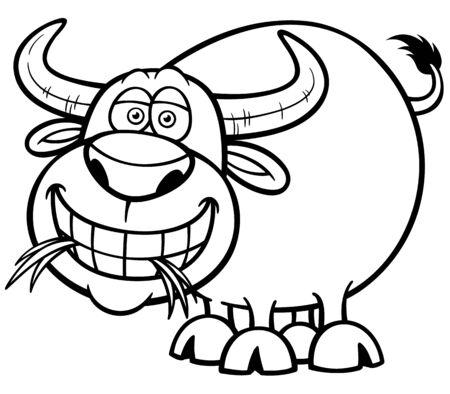 illustration of Cartoon Buffalo - Coloring book Vector