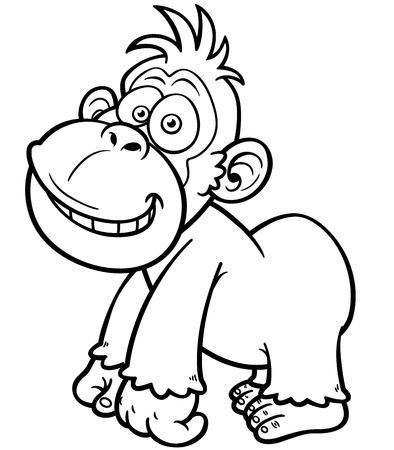 gorila: illustration of Gorilla Cartoon - Coloring book Illustration