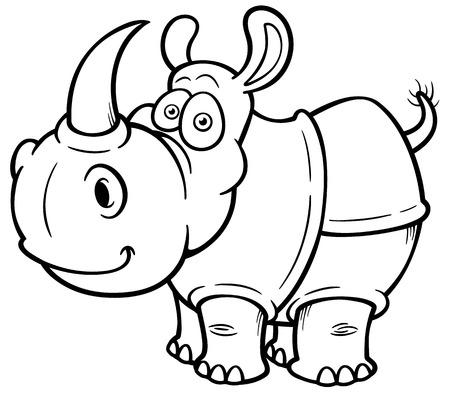 illustration of Cartoon rhino - Coloring book Vector
