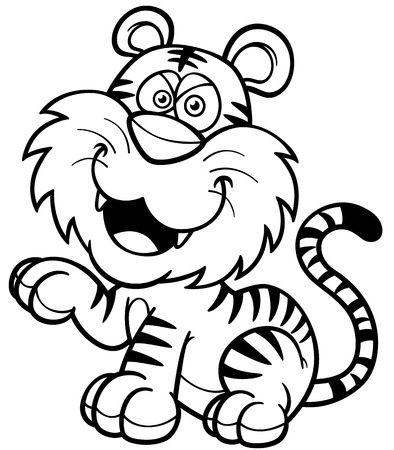 sumatran: illustration of Tiger cartoon - Coloring book