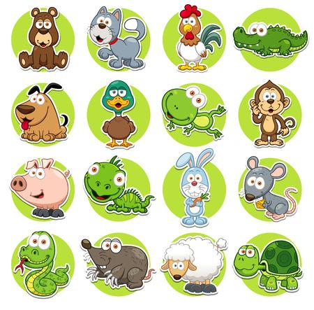 tortuga de caricatura: Ilustraci�n vectorial de conjunto de animales de dibujos animados