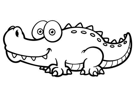 Ilustración De Cocodrilo De Dibujos Animados - Libro Para Colorear ...