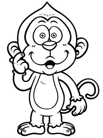 Vector illustration of Cartoon Monkey - Coloring book Vector