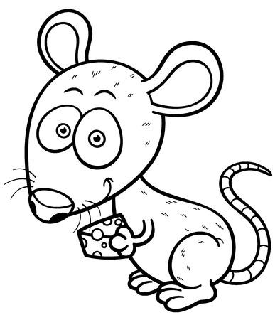 vector illustration of cartoon rat - Coloring book Vector