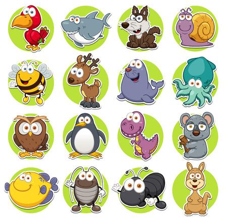 sellos: Ilustraci�n vectorial de conjunto de animales de dibujos animados