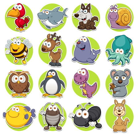 Vector illustration of Animals set Cartoon Zdjęcie Seryjne - 30147741