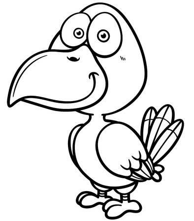 Vector illustration of bird - Coloring book Vector