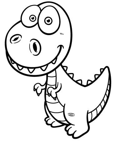 Conjunto De Dinosaurios De Dibujos Animados. Ilustración En Blanco Y ...