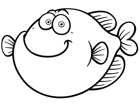 Vector illustration of Fish cartoon - Coloring book