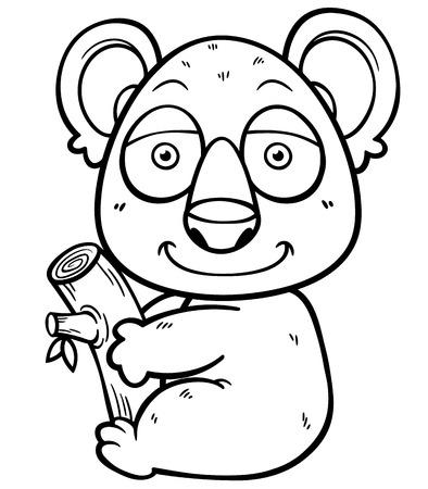koala: Ilustración del vector del oso de koala - Libro para colorear