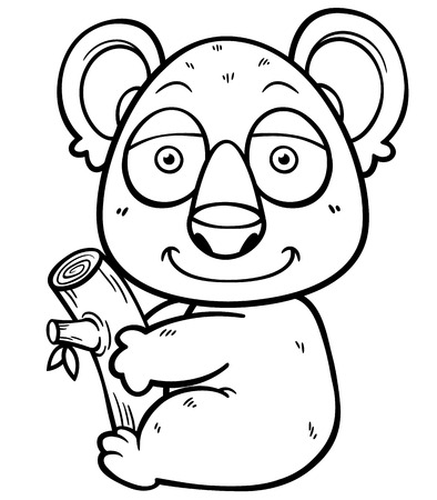 Vector illustration of Koala Bear - Coloring book Vector