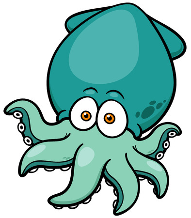 Vector illustration of Cartoon octopus Illustration