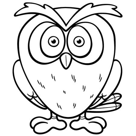Vector illustration of Cartoon owl - Coloring book Vector