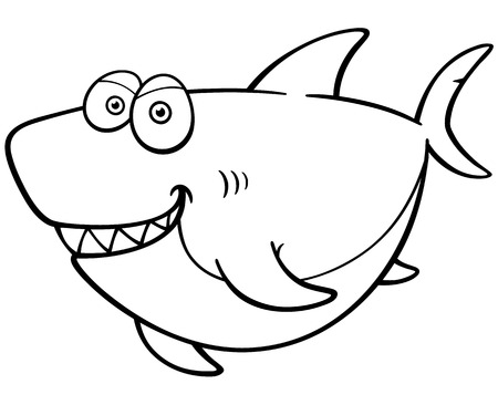 Vector Illustration Of Cartoon Shark - Coloring Book Royalty Free ...