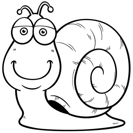 Vector illustration of Snail cartoon - Coloring book Illustration