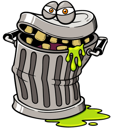 Vector illustration of Monster Trash can