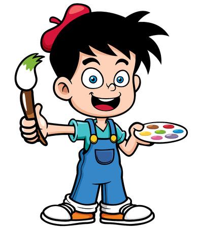 brushes: illustration of Cartoon artist boy